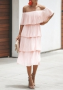 Women's Tiered Skirt Off Shoulder Sleeveless Ruffles Pleated Midi Dress