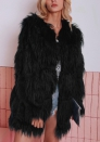 (Estimate Sent out within 3~6 work days) Women's Shaggy Faux Fur Coat, Winter Warm Solid Color Long Sleeve Short Faux Fur Jacket Parka