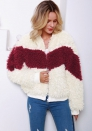 (Estimate Sent out within 3~6 work days) Women Fashion Faux Fur Contrast Color Front Zipper Jacket Warm Outwear Clothes