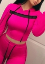 Women Casual Pullover Hoodie Crop Top Drawstring Sweatpants Two Piece Sport Tracksuit Outfits Set