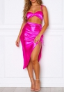 Women Fashion Satin Strap Corp Tops and High Slit Maxi Skrits 2 Piece Suit