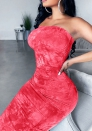 Women Fashion 3D-Digital Tube red Maxi Dress
