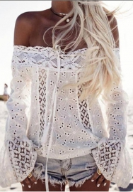 Women's Long Sleeve Beach Blouse Crochet Hollow Out Off Shoulder White Lace Tops Tee Shirt