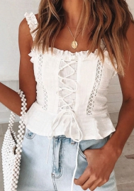 Women's Summer Sexy Lace Trim Peplum Beach Tank Top Camisole