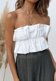 (Only Tops)Women's Sexy Strapless Bandeau Tube Crop Tops