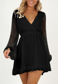 Women Chiffon Cross V Neck Flare Sleeve Dress