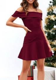 Women's Off Shoulder Ruffles Back Split Slim Stretch Cocktail Party Bodycon Mini Dress
