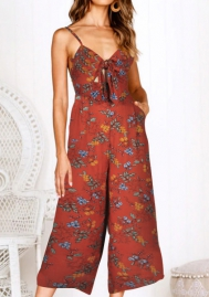 Women's Floral Jupmsuits Strap Sleeveless Wide Leg Pants Casual Jumpsuits Rompers