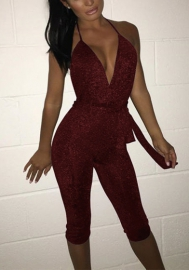 Women's Sexy V Neck Backless Spaghetti Strap Jumpsuit Rompers