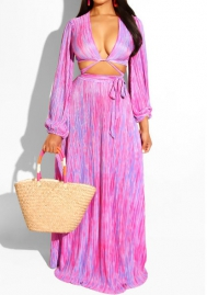 Women Fashion Colorful Hollow Long Sleeve Crop Tops Long Sleeve Maxi Dress