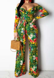 Women Fashion Floral V Neck Long Sleeve Jumpsuit with Waist Tie