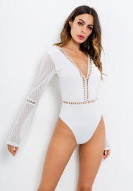 Women Sexy Underwear Flare Sleeve Hollow-Out Lace White Backless Skinny Sleepwear Bodysuits