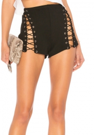 Women Sexy Skirts Side Split Lace up Bandage PU Shorts Pants Black