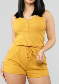 Women Fashion Front Button Waist Tie Short Jumpsuit