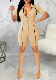 Women Fashion Front Zipper Bodycon Jumpsuit Romper