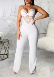 Women Fashion Solid Color Lace Strap Hollow Jumpsuit
