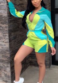 Women Fashion Contrast Color Front Zipper Romper Jumpsuit