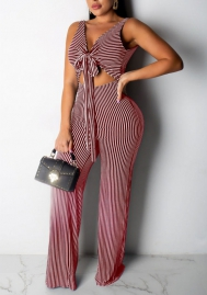 Women Fashion Striped Front Bow Tie Backless Jumpsuit