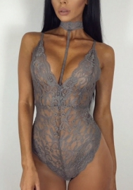 Women Sexy Lace Solide Halter Teddies Lingerie