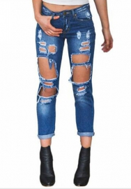 Women Sexy Jeans Ripped Hole Long Pants