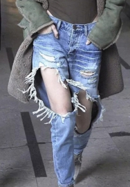 Women Fashion Ripped Hole Jeans Pant