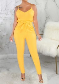 Women Fashion Solid Color Strap Classic Jumpsuit with Waist Tie