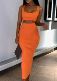 Women Fashion Solid Color Crop Tops And Midi Dress 2 Piece Suit