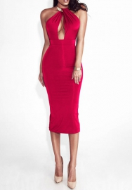 Women Sexy Halter Backless Solid Color Midi Dress