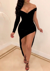 Women Sexy Single Sleeve Off Shoulder Black Mini Dress