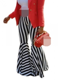 Women Fashion Striped Ruffle Loose Long Pants