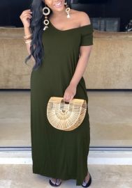 Women Fashion Solid Color Loose Maxi Dress