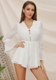 Women Fashion Lace V Neck Front Buttoon Flare Sleeve Romper Jumpsuit