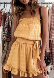 Women Fashion Yellow Ruffle Tube Romper Jumpsuit with Waist Tie