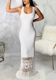 Women Fashion Strap Solid Color Bottom Lace Maxi Dress