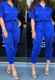 Women Fashion Light Color Front Zipper Short Sleeve Tops And Long Pants 2 Piece Suit