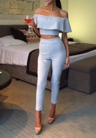 Women Fashion Off Shoulder Ruffle Solid Color Classic Crop Tops and Long Pants 2 Piece  Suit