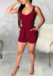 Women Fashion Solid Color Casual Romper Jumpsuit With Waist Tie