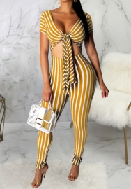 Women Sexy Print Striped Front Bow Cut Out Jumpsuit