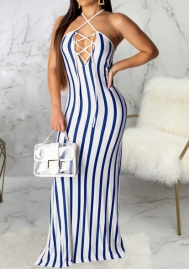 Women Fashoin Print Striped Halter Lace Up Maxi Dress