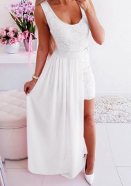 Women Fashion Lace Strap White Dress 2 Piece Suit