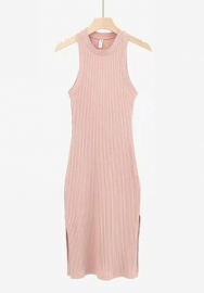 Women Fashion Round Neck Cotton Solid Color Classic Midi Dress (Pink)