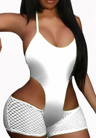 Womens V Neck Cut Out Sleeveless Backless Fishnet Bodycon Shorts Jumpsuit Rompers Party Club One Piece Outfit Set
