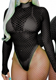 Womens V Neck Cut Out Long Sleeve Backless Fishnet Bodycon Shorts Jumpsuit Rompers Party Club One Piece Outfit Set