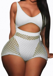 Womens V Neck Cut Out Sleeveless Backless Fishnet Bodycon Shorts Jumpsuit Rompers Party Club Bikini Set