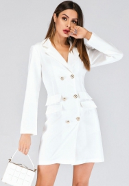 Women Fashion Front Double Button Long Sleeve OL Mini Dress (Solid Color)