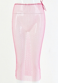 Women Sparkle Sexy Crystal Net Stretchy Hollow Out Mesh Single Shoulder  Sleeveless Midi Dress