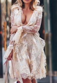 Women Sexy Lace Ruffle See Through V Neck Long Sleeve Midi Dress