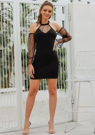 Women Fashion Mesh Black Halter Cold Shoulder Mini Dress