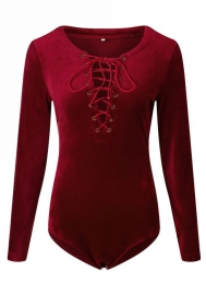 Women Fashion Velvet Lace Up Long Sleeve Teddies Lingerie