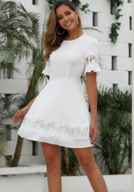 Women Fashion Lace Hollow Side Roun Neck Hem Mini Dress